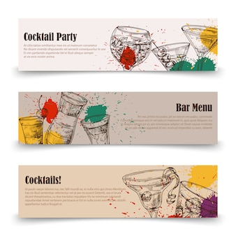 Art cocktail party s with splashes - menu banners  templates