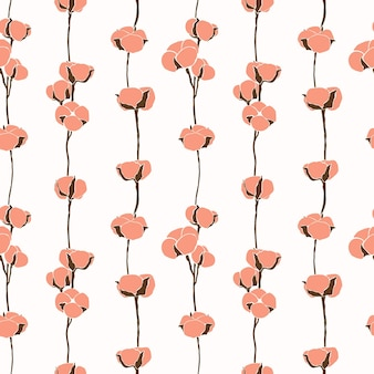 Art collage of cotton flowers seamless pattern in a minimalistic trendy style. silhouette of a cotton branch in a modern simple style. vector background for printing t-shirts, postcards, posters