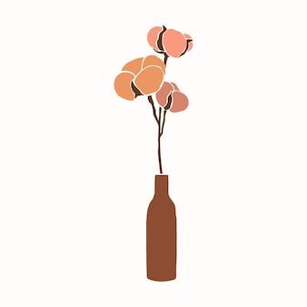 최소한의 트렌디한 스타일의 꽃병에 면 꽃의 아트 콜라주. 단순한 추상 스타일의 목화 가지의 실루엣입니다. 인쇄 티셔츠, 카드, 포스터, 소셜 미디어에 대한 벡터 일러스트 레이 션