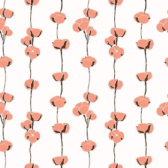 면 꽃의 아트 콜라주는 최소한의 트렌디한 스타일로 매끄러운 패턴입니다. 현대적인 단순한 스타일의 면 지점의 실루엣입니다. 티셔츠, 엽서, 포스터 인쇄를 위한 벡터 배경