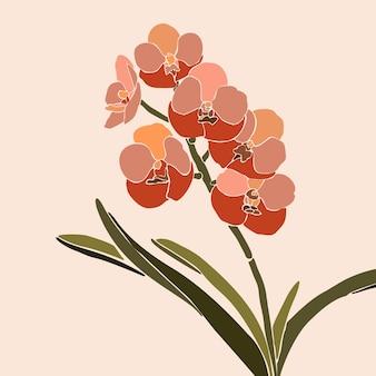 最小限のトレンディなスタイルのアートコラージュ蘭の花。ピンクの背景に現代的なシンプルな抽象的なスタイルの蘭の植物のシルエット。 tシャツプリント、カード、ポスターのベクトル図