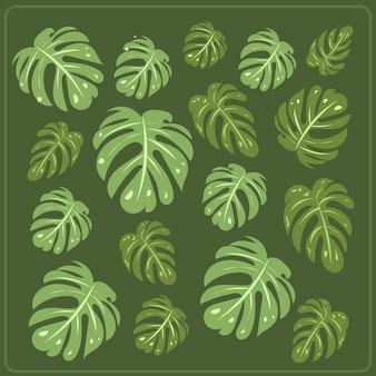 アートコラージュ植物熱帯のイチジクの葉は最小限の流行のスタイルです。現代的なシンプルな抽象的なスタイルの植物のシルエット。図