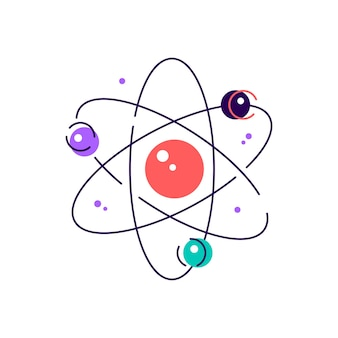 Art of colorful atom diagram with electrons on orbits
