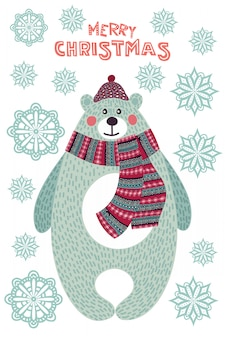 Art  colorful christmas illustration with cute cartoon bear and snowflakes.