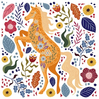 Art  colorful illustration with beautiful abstract folk horse and flowers.