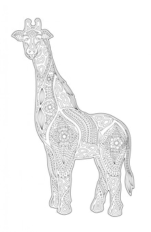 Art for coloring book page with cartoon giraffe