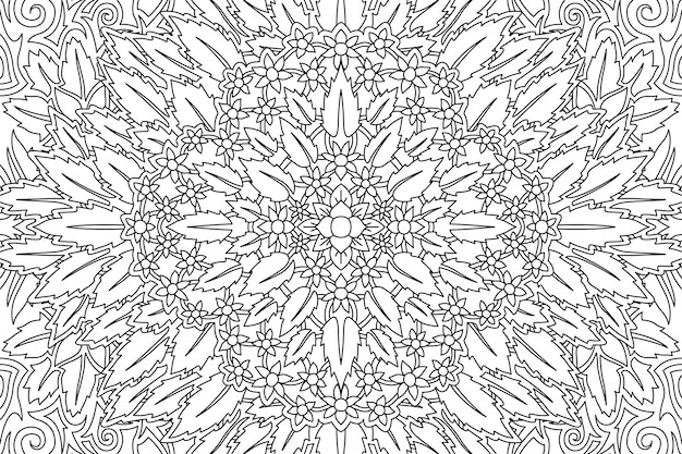 Art for coloring book page with floral pattern
