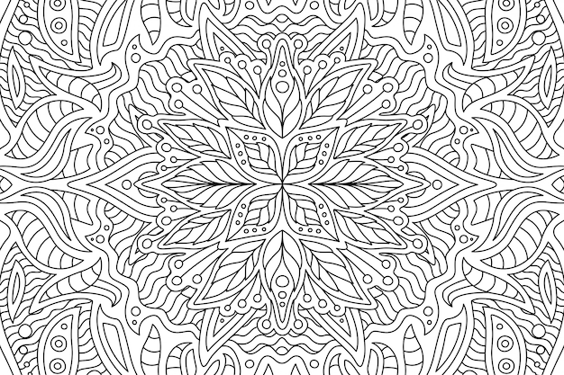 Art for coloring book with linear floral pattern