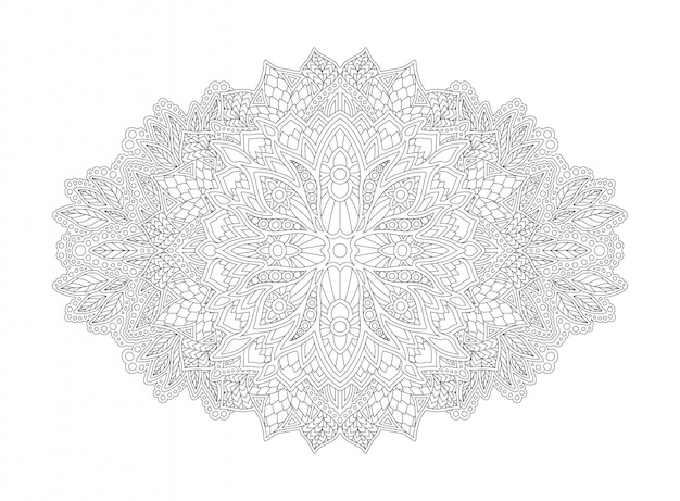 Art for coloring book with linear floral