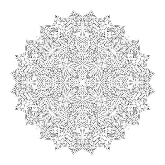 Art for coloring book with round linear floral mandala