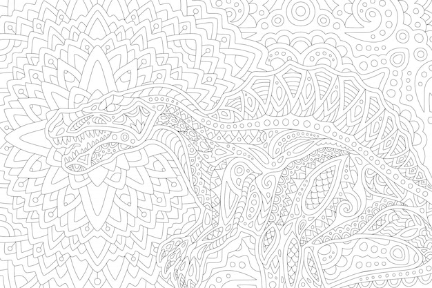 Art for coloring book with stylized spinosaurus