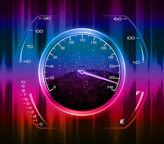 Art concept of racing car's speedometer