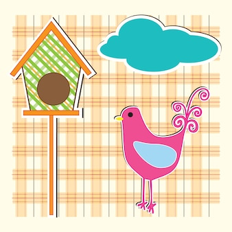 Art country hen with orange checkered background