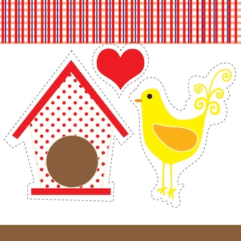 Курица в стиле кантри с красно-белым клетчатым фоном