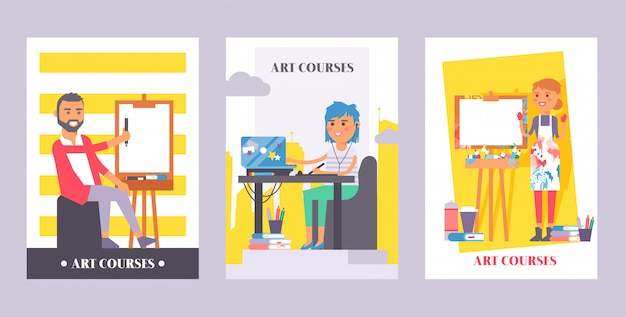 Art courses set of posters. man painting on canvas. girl sitting in front of laptop listening in earphones to online