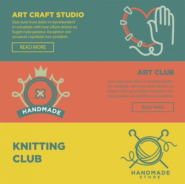 Art craft and handmade club logotypes colorful vector poster