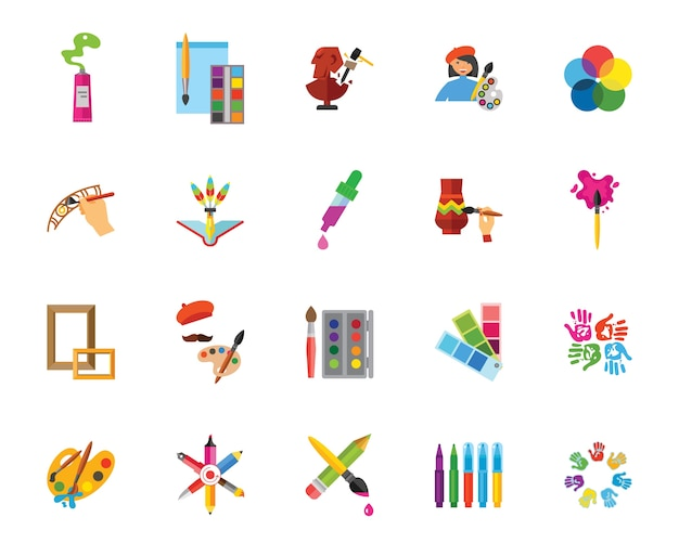 Art and craft icon set