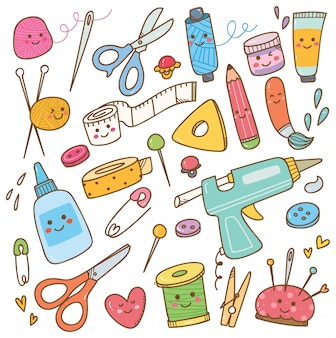 Art and craft supplies doodle, diy tools set