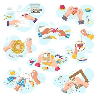 Мастерская художественного промысла для творческого хобби, руки мастера вид сверху создают художественные изделия ручной работы, на белом наборе иллюстраций. крой, роспись и вязание, вышивка, аппликация, распиловка.