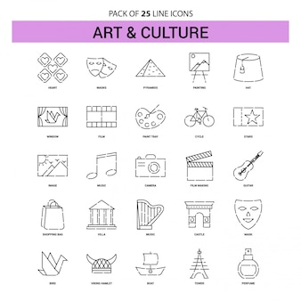 Art and culture line icon set - 25 dashed outline style