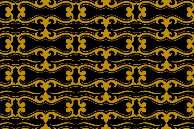 アールデコの抽象的な幾何学的な金と黒のバティックのシームレスなパターン。ジャワの飾り