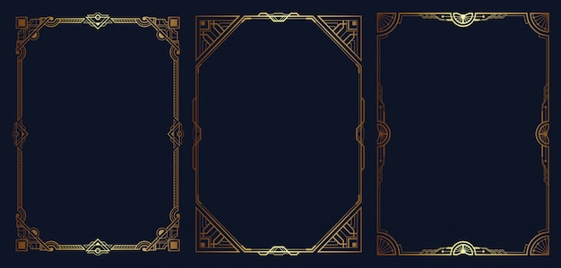 Art deco border and frame set template