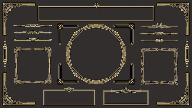 Art deco border and frame set Premium Vector