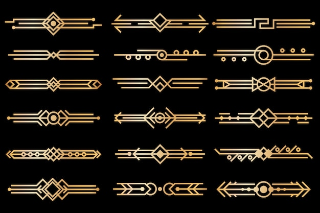 Art deco borders. gold deco design dividers. 1920s and 30s vintage luxury elements. vector isolated set