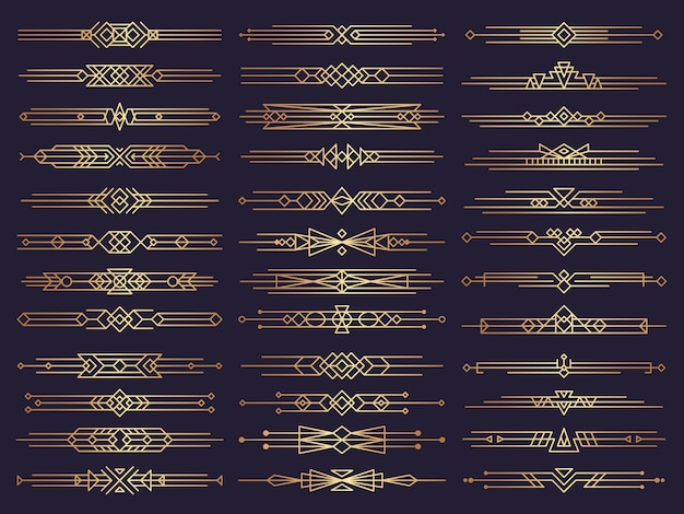 Art deco borders. retro dividers shapes decorative ornament elements