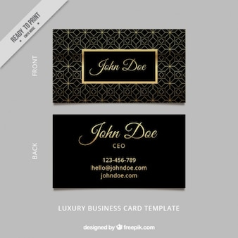 Art deco business card with geometric lines
