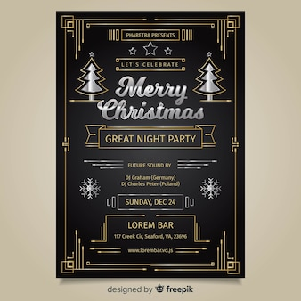 Art deco christmas party poster template