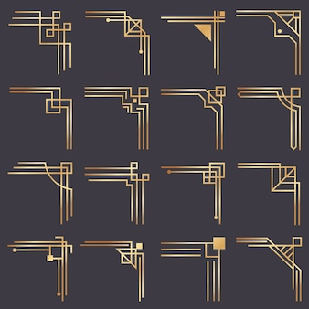 アールデココーナー。ビンテージゴールドパターンの境界線のモダンなグラフィックコーナー。ゴールデン1920年代のファッション装飾ラインフレームセット