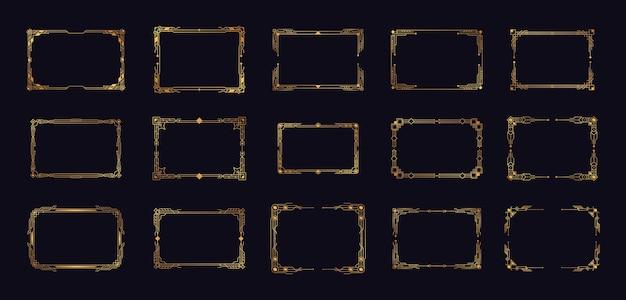 Art deco corners gold set  artdeco corners for borders and frames