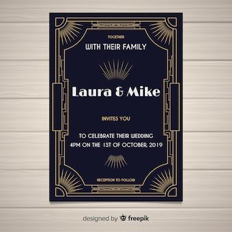 아트 데코 디자인 결혼식 초대장 서식 파일