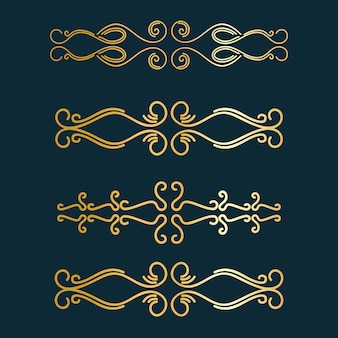 Art deco divider. gold retro arts border,decorative ornaments and golden dividers borders  set