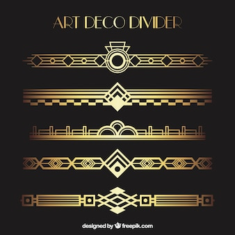Art deco dividers collection in golden color