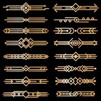 Арт-деко разделители. золотые линии дизайна деко, золотые границы заголовка книги. викторианские винтажные элементы 1920-х годов на черном. векторный набор изолированных