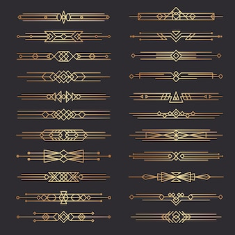 Art deco dividers. lines shapes decorative borders minimal swirl decor 1920s template dividers collection. illustration border deco ornate, scroll classic frame for page