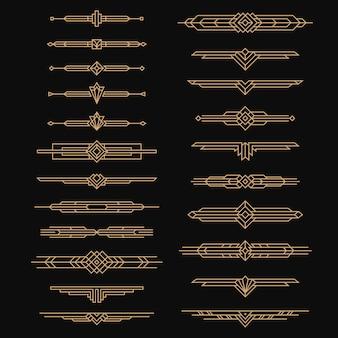 아르데코 디바이더. 빈티지 교묘한 예술, 30년대 헤더 스타일. 장식품, 테두리 및 프레임 디자인, 검은색으로 설정된 선 깔끔한 벡터가 있는 황금색 화려한 장식 레이블