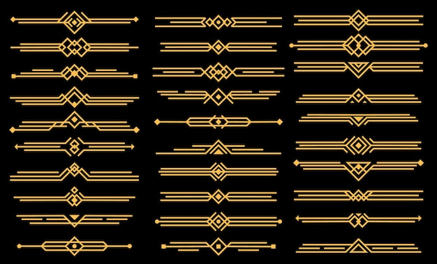 Art deco  elements dividers or headers.  geometric victorian style, elegant vintage design, icons set