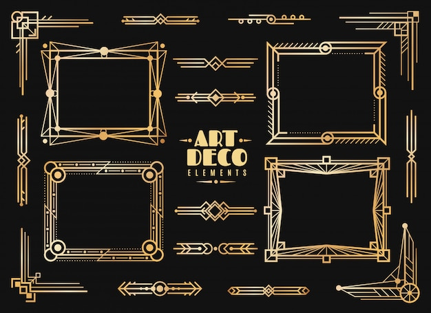 Art deco elements. gold wedding deco frame border, classic dividers and corners. 1920s retro luxury art golden abstract