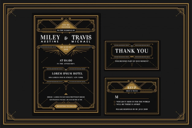 Art deco engagement / wedding invitation card template with gold color with frame. classic black premium vintage style. include thank you tags and rsvp