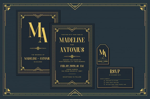 Art deco engagement / wedding invitation card template with gold color with frame. classic navy premium vintage style. include thank you tags and rsvp