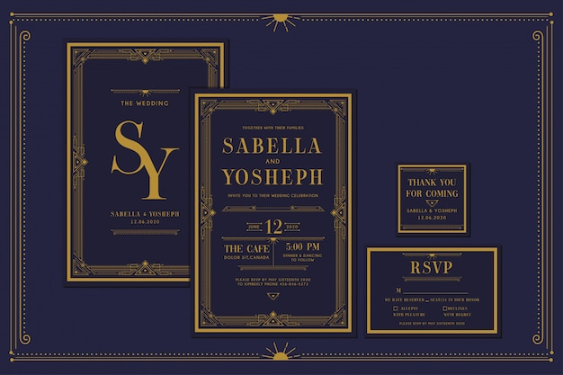 Art deco engagement / wedding invitation with gold color with frame. classic navy premium vintage style. include thank you tags and rsvp.
