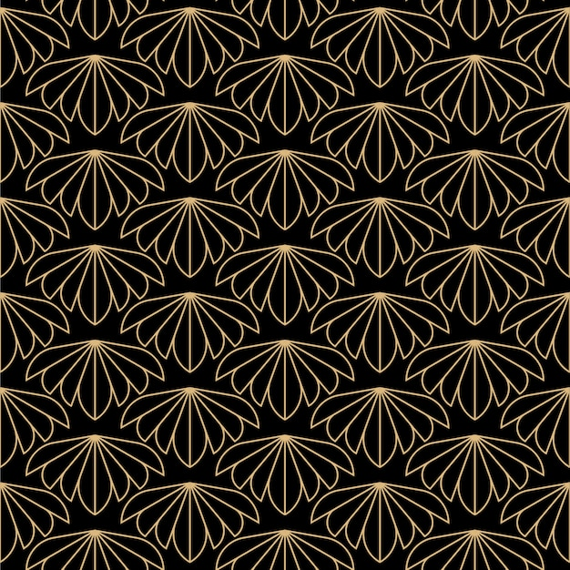Art deco flowers seamless pattern
