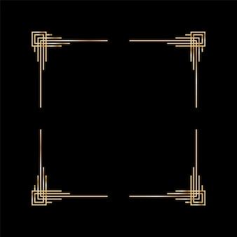 アールデコフレーム。アートワークのグラフィックパターン。結婚式の招待状の背景の創造的なテンプレート。ヴィンテージのレトロなスタイルのバナーやラベルのデザイン。ベクトルデザインオブジェクト。