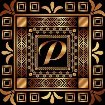 Art deco frame monogram golden luxury abstract