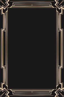 Рамка в стиле ар-деко с ромбовидным узором на темном фоне