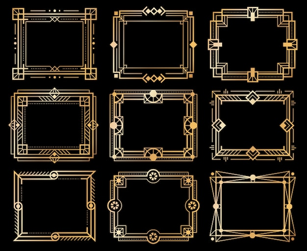 Art deco frames. gold deco image frame borders, golden geometry line. 1920s vintage luxury art elements. vector isolated abstract llustration ornament design framed set
