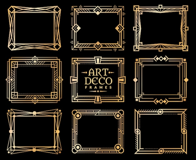 Art deco frames. gold gatsby deco frame border. 1920s retro luxury art design vector elements
